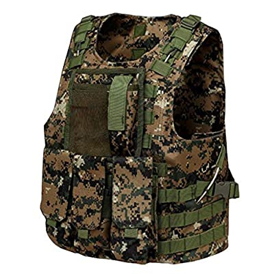 GRZP Taktische Weste, Outdoor Camping Jagd Angeln Wandern Air Gun Kriegsspiel Abnehmbarer Beutel Kampf Training Taktische Weste, Dschungel Digital Camouflage
