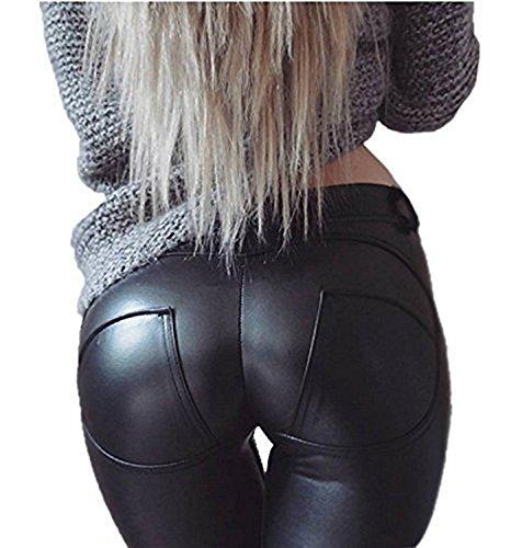 Minetom Damen Lederhose Sexy Skinny Legging Stretch PU Leder Look Optik Schwarz Schlank Hose Kunstleder Treggins Schwarz DE 36