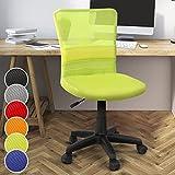 Miadomodo Sedia Poltrona Girevole da Ufficio scrivania con Schienale in Rete e Sedile Imbottito Altezza Regolabile 82 - 92 cm Colore Verde