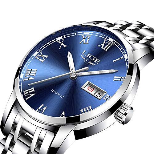 Herren Uhr LIGE Wasserdicht Edelstahl Analog-Quarz Uhr-männer Business Date Armbanduhr