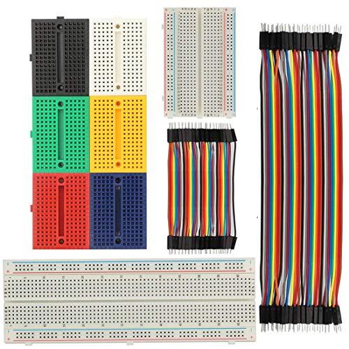 Goosky Breadboard Carte d'Expérimentation 170/400/830 Points sans Soudure et 3 en 1 40P 10/20cm Dupont Wire Jumper Cable 2.54 1P-1P mâle-mâle/Femelle-Femelle/Femelle-mâle(Multicolor)