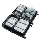 Reise Koffer Organizer Set, 8-teilig wasserdichte Polyester-Kleidersäcke Gepäckaufbewahrungstaschen mit großer Kapazität für Kleidung, Schuhe, Kosmetika, Körperpflegeprodukte, Kabel (Grau)