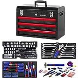 WORKPRO W009044A - Juego de herramientas mecánicas (3 cajones, caja de metal resistente, 408 piezas)