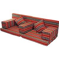 Comfy Red With Black Arabic Sofa Folding 7pcs Majlis Set