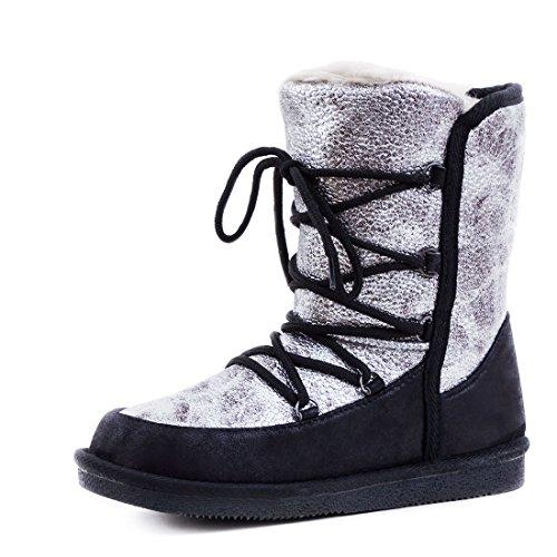 Trendige Damen Schnür Boots Winter Stiefel Metallic Stiefeletten mit Kunstfell warm gefüttert Schwarz