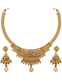 Jewels Guru Exclusive Designer Daily Wear Party Wear Office Wear Wedding Golden Necklace Set For Women And Girls