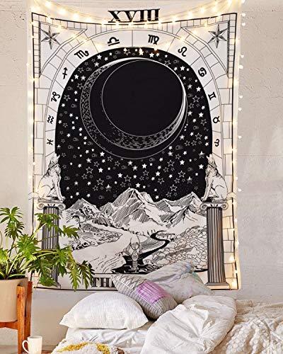 Moon Tapiz Medieval de Europa Misterioso para el Dormitorio o el hogar decoraci/ón para Colgar en la Pared Tapiz de Pared con dise/ño de Tarot de la Luna 59/×82 Mazheny la Estrella y el Sol