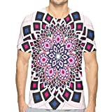 K0k2t0 3D Printed T Shirts,Vintage Hand Drawn Floral Motif Ornamental Petals with Square Shapes Antique Design XXL