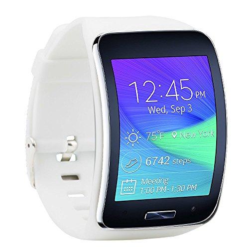 Fit-Power Ersatzarmband für Samsung Galaxy Gear S R750Smart Watch, verstellbare Größe, kabellos, Smartwatch, Zubehör, Band, Gurt, mit sicherem Verschluss, weiß