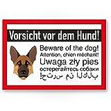 Kunststoff Schild Schäferhund - Vorsicht vor dem Hund/Achtung Schäferhund - Hunde Schild, Hinweisschild Grundstück mehrsprachig German Shepherd - Türschild Haustüre/Einbruchschutz