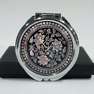 Kosmetik Taschenspiegel Handtaschenspiegel Silber Rund Blume Schwarz