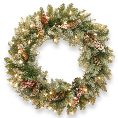 Red Fir, Red Lights (National Tree 24-Inch Dunhill Fir Wreath with Snow/Red Berries/Cones/50 Snow Lights by National Tree Company)