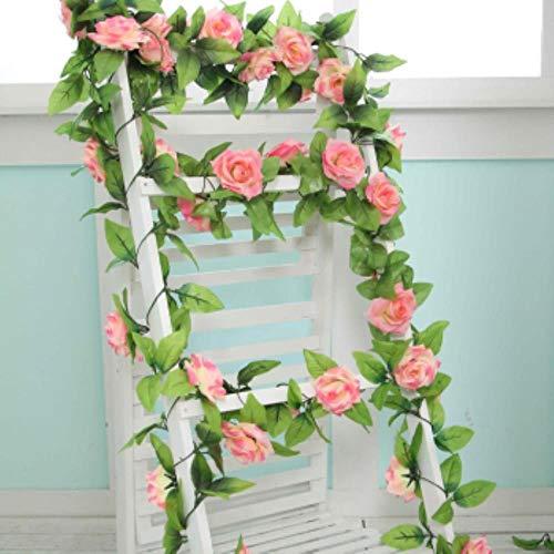 Generic 240cm Artificial Flowers Ivy Vine Home Wedding Decoration Rose Fake Flowers Rattan String Festival Hanging Silk Flower,Rose Pink (Pink Silk Rosen)