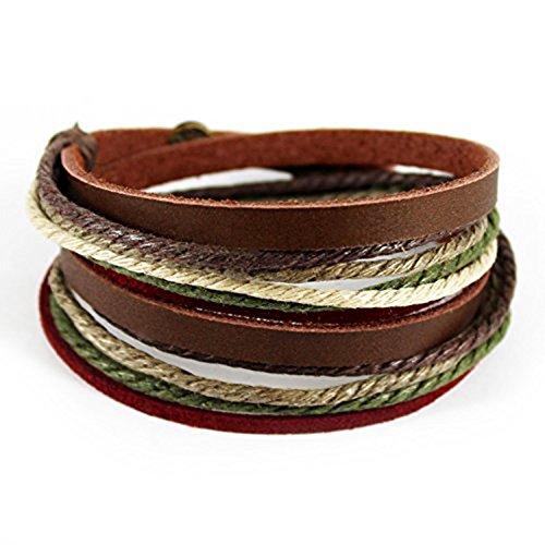 Echtes Leder Unisex Armband Doppe Wlickelarmband Handcraft Armreif mit Baumwolle Seil (Mehrfarbig-3) -