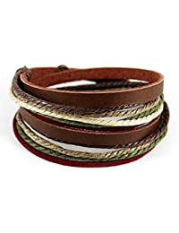 Unisex Genuine Leather Cuff Wrap Bracelet Rope Wristband with Three Adjustable Button