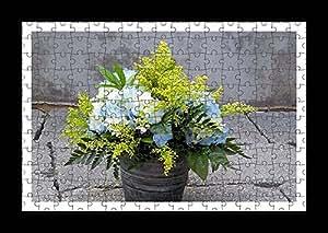 Stile Puzzle, Pre-assemblato da parete con stampa di Mimosa-Bouquet di ortensie-by Lisa Loft asfalto