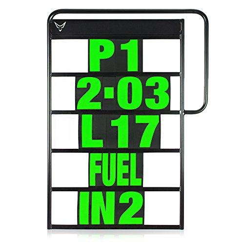 Pitboard, Boxentafel, Infotafel, klein, Set mit 37 Karten, neon grün, RACEFOXX