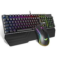 havit mechanische gaming-toetsenbord en -muisset, RGB-achtergrondverlichting QWERTZ (DE-layout), aluminium oppervlak en polssteun, 4800 Dots Per Inch RGB-gamingmuis met 7 knoppen (KB389L)