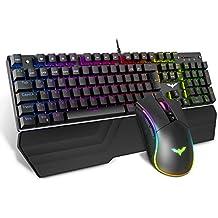 havit Mechanische Gaming Tastatur und Maus Set, RGB Hintergrundbeleuchtung QWERTZ (DE-Layout), Aluminiumoberfläche und Handballenauflage, 4800DPI RGB Gaming Maus mit 7 Tasten (KB389L)