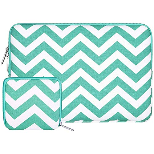 MOSISO Tasche Sleeve Hülle Kompatibel 11-11,6 Zoll MacBook Air, Ultrabook Netbook Tablette Chevron Stil Canvas Gewebe Laptophülle Schutzhülle Laptoptasche Notebooktasche mit Klein Fall, Heiß Blau -
