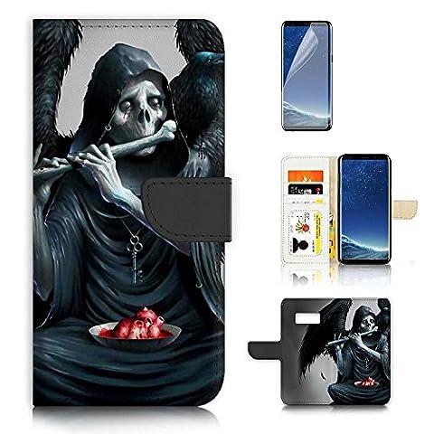 Samsung Galaxy S8 Flip Wallet Case Cover & Screen Protector Bundle! A20498 Evil Skull