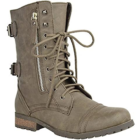 WOMENS LADIES ARMY COMBAT LACE UP ZIP GRUNGE MILITARY BIKER TRENCH PUNK GOTH ANKLE BOOTS SHOES SIZE (UK 6, Khaki Faux Leather)