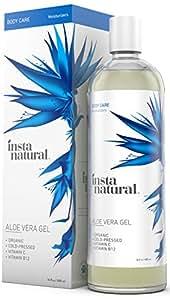Gel all'Aloe Vera Naturale InstaNatural - 473 ml Trattamento Idratante Puro e Organico per Uomo e Donna - Per Scottature, Eruzioni Cutanee, Tagli da Rasatura e Sollievo in Generale - Cura per Pelle Naturale Doposole, per Morsi d'Insetto e per Graffi
