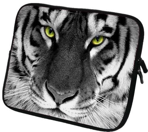 """6 Zoll Tolino Vision 3 HD / Shine 2 HD eBook-Reader Schutzhülle - sehr hochwertige & edel verarbeitete eReader Tasche aus wasserfesten Neopren mit eingenähter Doppelnaht, premium Reißverschluss und aufwendigen Designeraufdruck! Die Hülle eignet sich für eBook diverser Hersteller bis 165x120mm ( zirka 5,8"""" bis 6,3"""" ) Tiger"""
