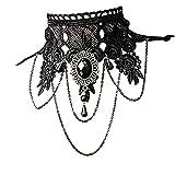 37YIMU® Gargantilla collar de la mujer punk estilo gótico negro borlas de encaje tatuaje gargantilla cadena collar colgante para fiesta de boda