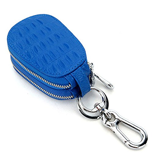 Esdrem Unisex in Vera Pelle Custodia Porta Chiavi Portachiavi Auto Con Doppia Cerniera Portafoglio Portamonete Blue Gourd Shape