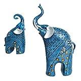 D DOLITY Deko Glückliche Elefante Familie Deko Figuren Skulptur Dekofigur für Wohnzimmer Arbeitszimmer - Blau