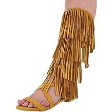 Damen Sandalen Schuhe Dianetten Western Style Fransen Riemchen Gelb 38 WzzOQ3TdO0