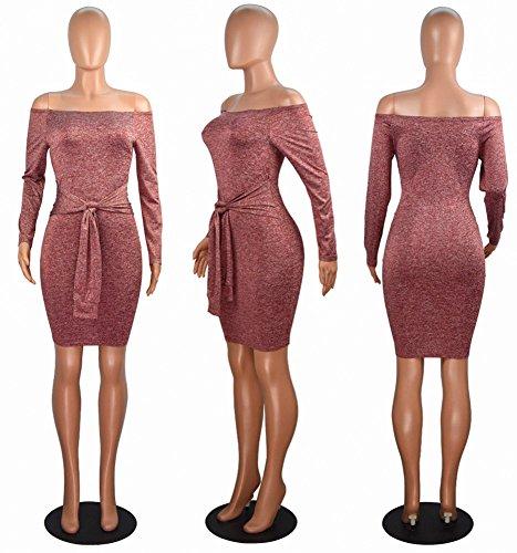 Donna Elegante Vestiti Abito Senza Spalline Vestito da Cocktail Slim Fit Maniche lunghe Abiti da Sera Vino Rosso
