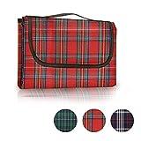 Sekey Coperta da picnic | coperta pieghevole | coperta da campeggio | coperta da spiaggia con resistenza all'acqua PE sostegno e manico facile da gestire, 200 x 150cm, Rosso