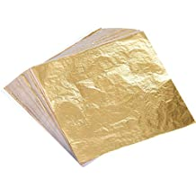 100 Hojas Pan de Oro de Imitación para Artes, Artesanía de Dorado, Decoración, 14 por 14 cm