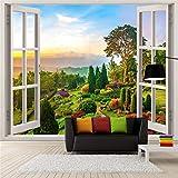 Benutzerdefinierte Fototapete 3D Stereoscopic Freien Landschaft Fenster Wandbilder Wohnzimmer Sofa Hintergrund Wanddekoration Tapete, 200 * 140 cm