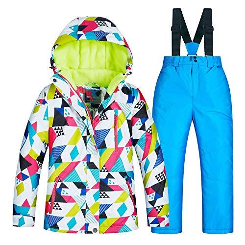 Yzibei Wasserabweisender, winddichter Skianzug für Kinder Winter Kinder Skianzüge sind dick und warm und Winddicht (Farbe : C1+Blue Pants, Größe : 14 Yards) - Mädchen-größe Ski-jacken Für 14
