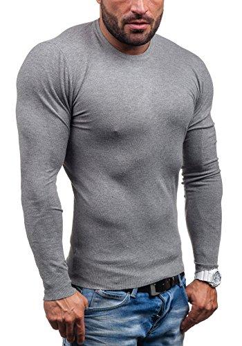 BOLF – Pull - Tricot – Sweatshirt – V-neck - S-WEST 6006 - Homme Gris