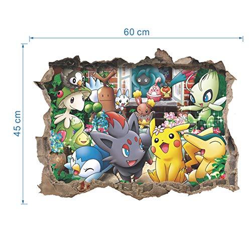 Pocket Monster Pokemon Go lustige süße Pikachu Abziehbild Wandaufkleber Cartoon-Spiel für Kinderzimmer Kinder Geburtstagsgeschenk Spielzeug (Silber Pokemon-karte)