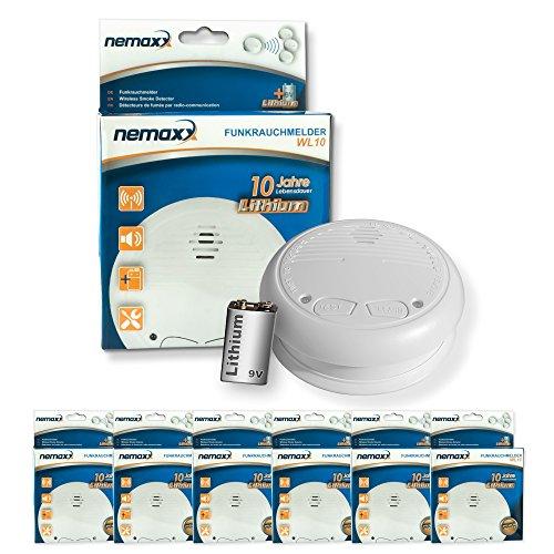 6x Nemaxx WL10 Funkrauchmelder - mit 10 Jahre Lithium Batterie Rauchmelder Feuermelder Set Funk koppelbar vernetzt - nach EN 14604