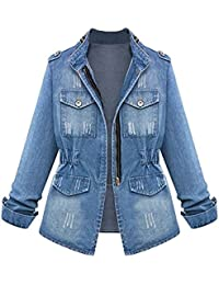 Mujer Casual Loose Punk Chaqueta Denim Pantalones Vaqueros Estilo Boyfriend Abrigo Azul XL