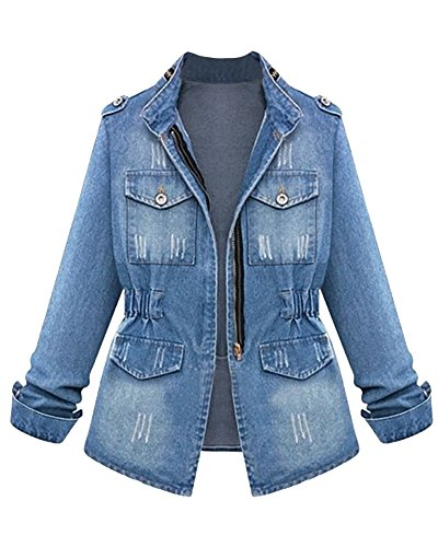 Women Girls Loose Fit Long Sleeve Vintage Denim Light Wash Faded Ripped Boyfriend Jean Jacket