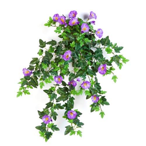 artplants Set 3 x Künstlicher Petunien-Hänger, 320 Blätter, 28 Blüten, Lila, 55 cm – naturgetreue Kunstblumen/künstliche Ranken