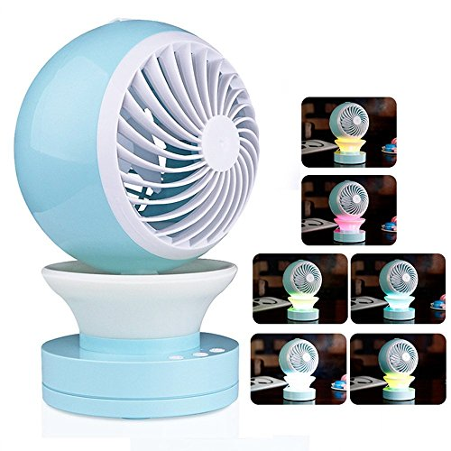 Foto de Onerbuy Mini USB Escritorio de mesa Ventilador personal Ventilador portátil Ventilador con aire acondicionado Humidificador de aroma Difusor con RGB LED Luz de noche