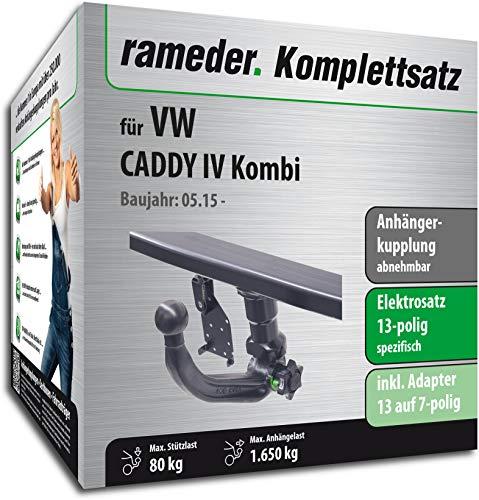 Rameder Komplettsatz, Anhängerkupplung abnehmbar + 13pol Elektrik für VW Caddy IV Kombi (143346-14302-1)