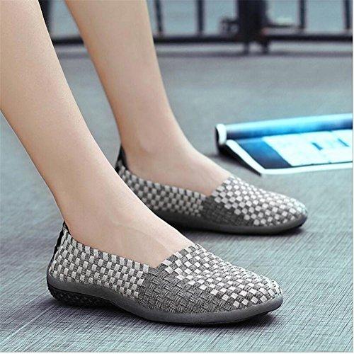 LDMB Damen Casual Schuhe Herren Stricken Schuhe Mama Schuh Grey