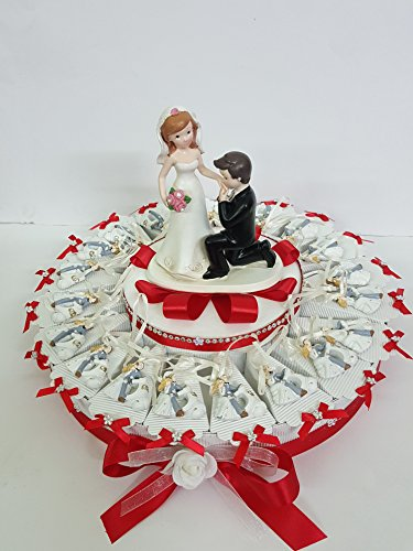 Torta bomboniere coppia sposi con nastrin completa di bigliettino matrimonio segnaposti (90 fette ( 5 piani))