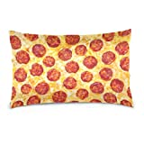 Xukmefat Pizza Sausage Decorative Accent Throw Pillow Cases Cushions Covers with Zipper for Sofa Couch Bed 20x 26 Inches