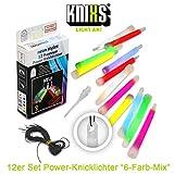 KNIXS 12er Set Premium Power-Knicklichter im 6-Farb-Mix leuchtend inkl. Spezialhaken und Befestigungsband Party, Festival, Outdoor oder als Dekoration