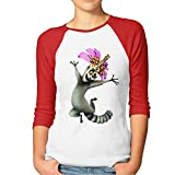 Weiblich King Julien Madagaskar Baseball Athletic 3/4Sleeve T-Shirt, damen, rot -
